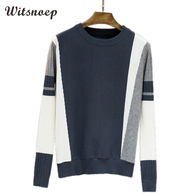 TIGENA Women Sweaters and Pullovers Jumper 2019 Autumn Winter Contrast Color High Stretch Knitted Pink Sweater Female Pull Femme
