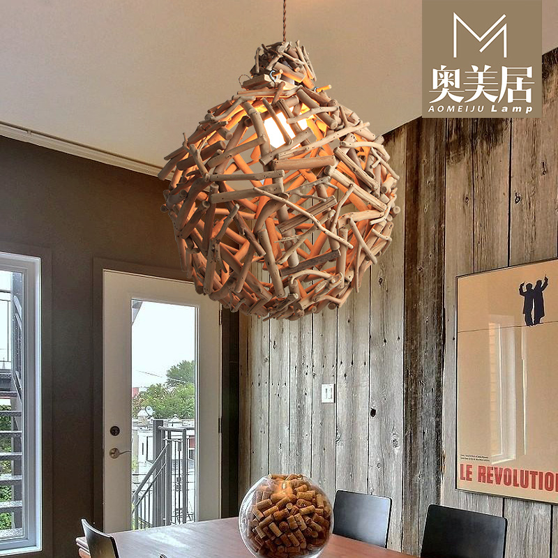 Nordic personality simple solid wood branches pendant light ball bar living room balcony bedroom  hanging lighting branches pendant light nordic brief fashion rustic gold silver