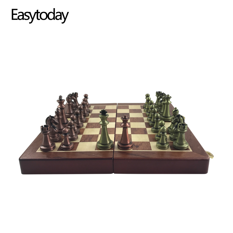 Easytoday International Chess Wooden Games Set Metal Chess Pieces Solid Wood Chess Board Entertainment Table Game Gift
