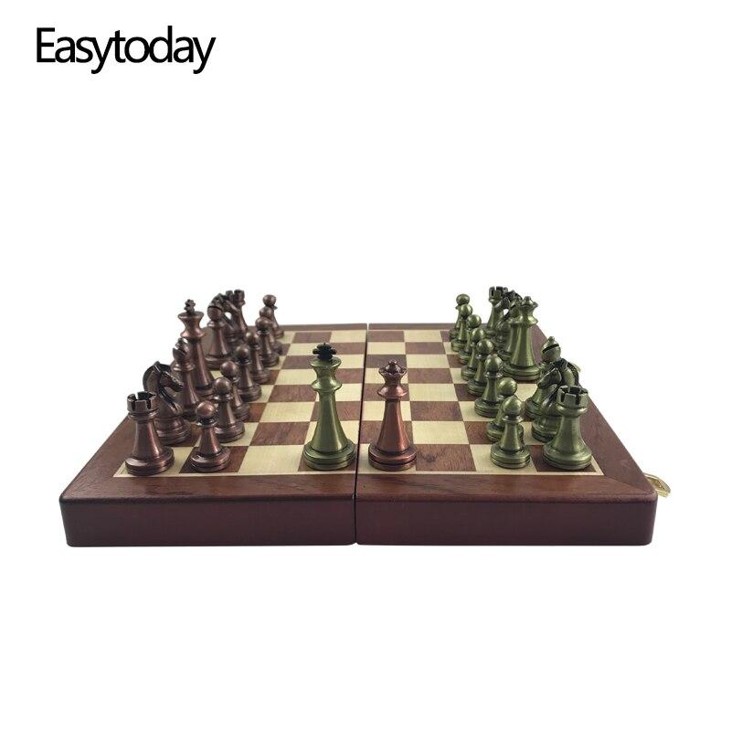Easytoday International D'échecs En Bois Jeux Ensemble En Métal Pièces D'échecs En Bois Massif Échiquier Divertissement Jeu De Table Cadeau