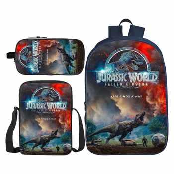 3Pcs/Set Printing 3D Animal Jurassic Park Dinosaur Kids Baby School Bags for Boys Bookbag Children Shoulder Backpack Student Bag - DISCOUNT ITEM  34% OFF All Category