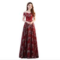 Cheap Boat neck Short Sleeve Evening Dresses floor length formal dress for Women