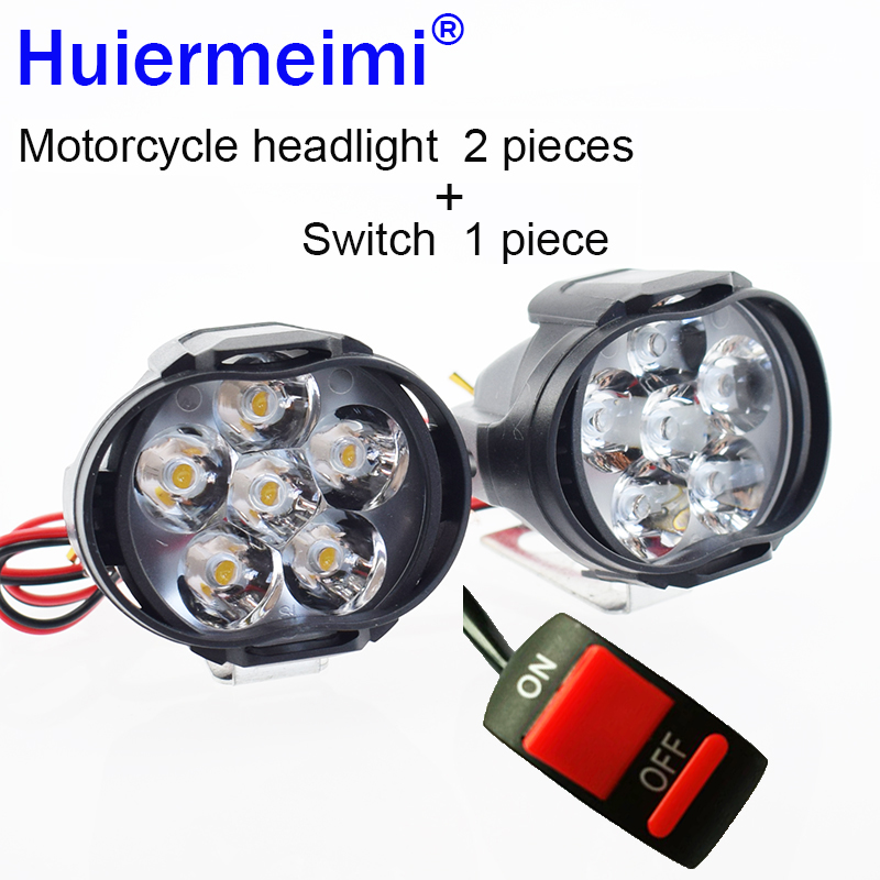 Huiermeimi 2PCS Motorcycle Headlight 10W 1000LM LED 12V Car Fog DRL Headlamp Spotlight Hunting Driving Light High Moto Head Lamp