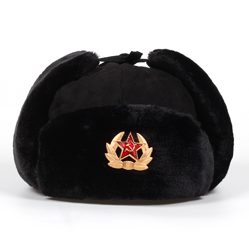 Thicker-Caps Ear-Flaps-Cap Bomber-Hats Russian Winter Women National Warm Outdoor Star title=