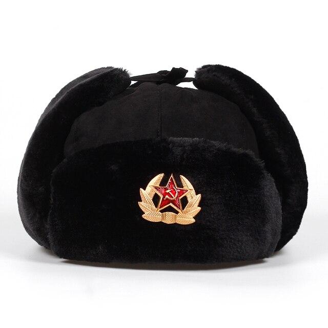 e8cf478f72a29e 2018 New Women Men star Bomber Hats Winter Russian national emblem Hat  Outdoor Warm Thicker Caps with Ear Flaps cap Bone Garros