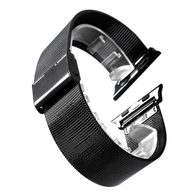 Schwarzes Edelstahlgitterarmband für Apple Watch 38mm 42mm Armband - Uhrenzubehör - Foto 2