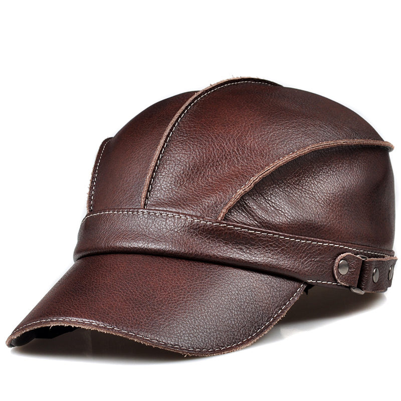 2019 Spring Novelty Popular Fashion Lady Genuine Cowskin Red Brown Baseball Caps For Man Women Hooded