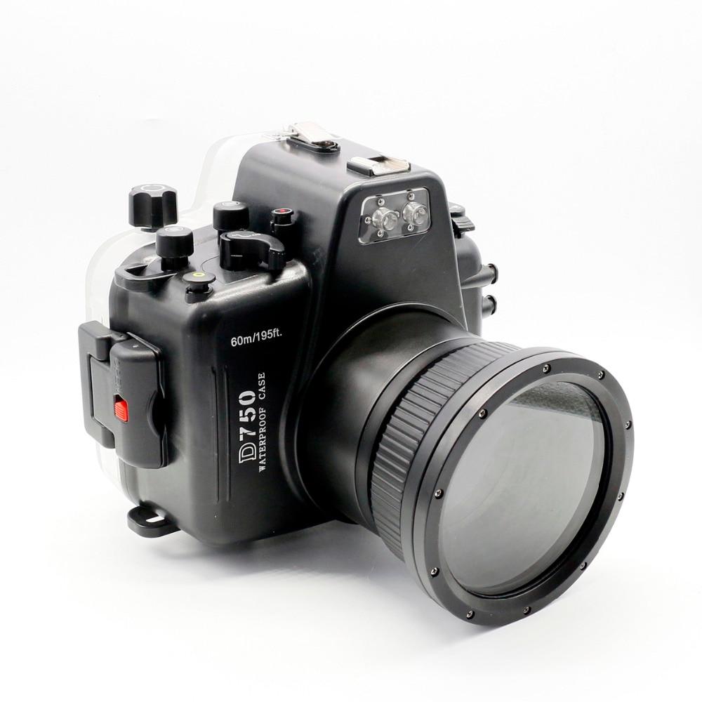 for Nikon D750 Meikon 60m/195ft Waterproof Underwater Housing Diving Camera Case