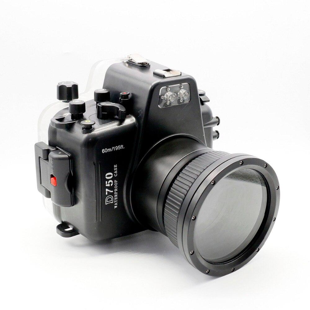 Para Nikon D750 Meikon 60 m/195ft Habitação Mergulho Submarino Camera Case À Prova D' Água