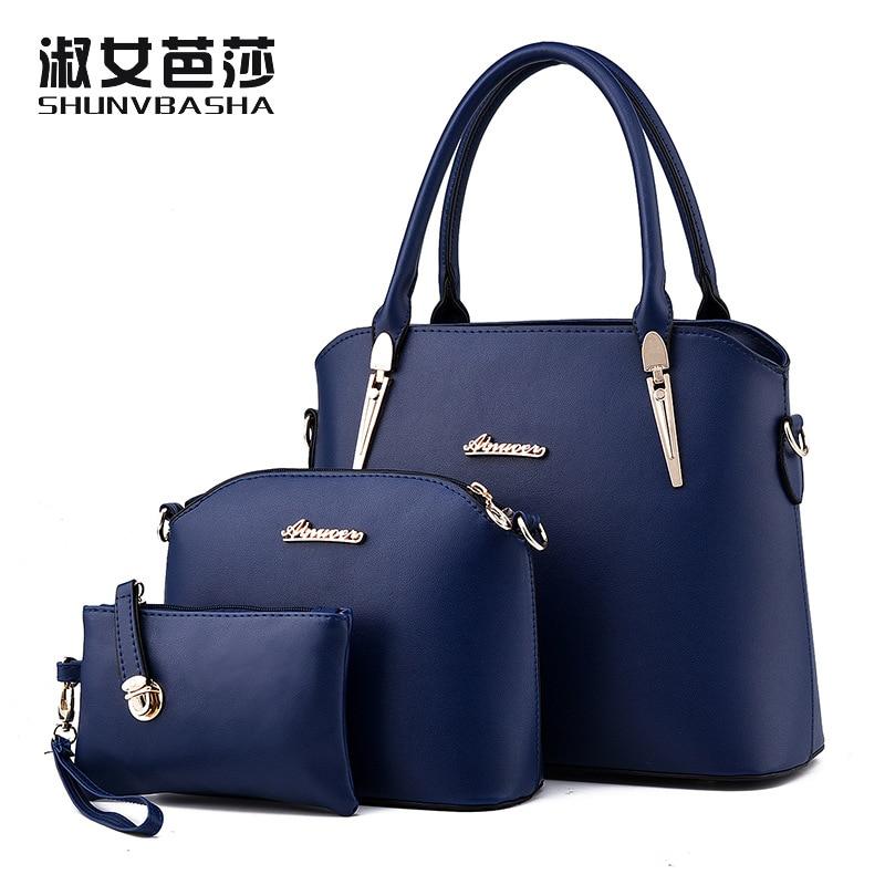 New Brand Designer Women Handbag High Quality Pu Leather Composite Bag Female Shoulder Bags ,Handbag + Clutch +Wallet / Set Q1