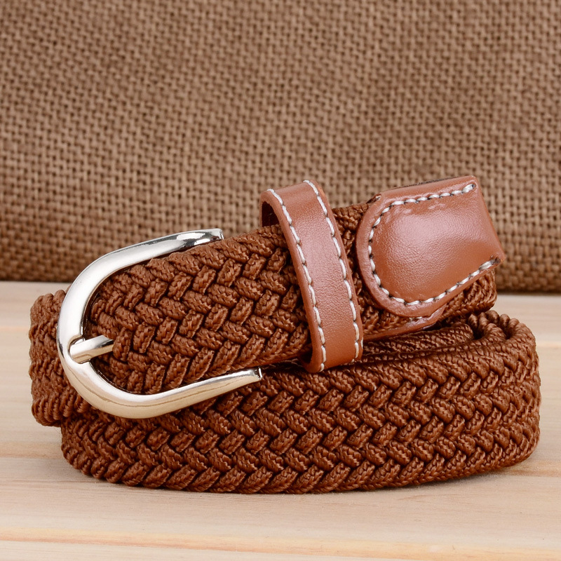 New fashion casual men and women wild solid color belt canvas woven belt pin buckle elastic elastic belt jeans dress accessorise