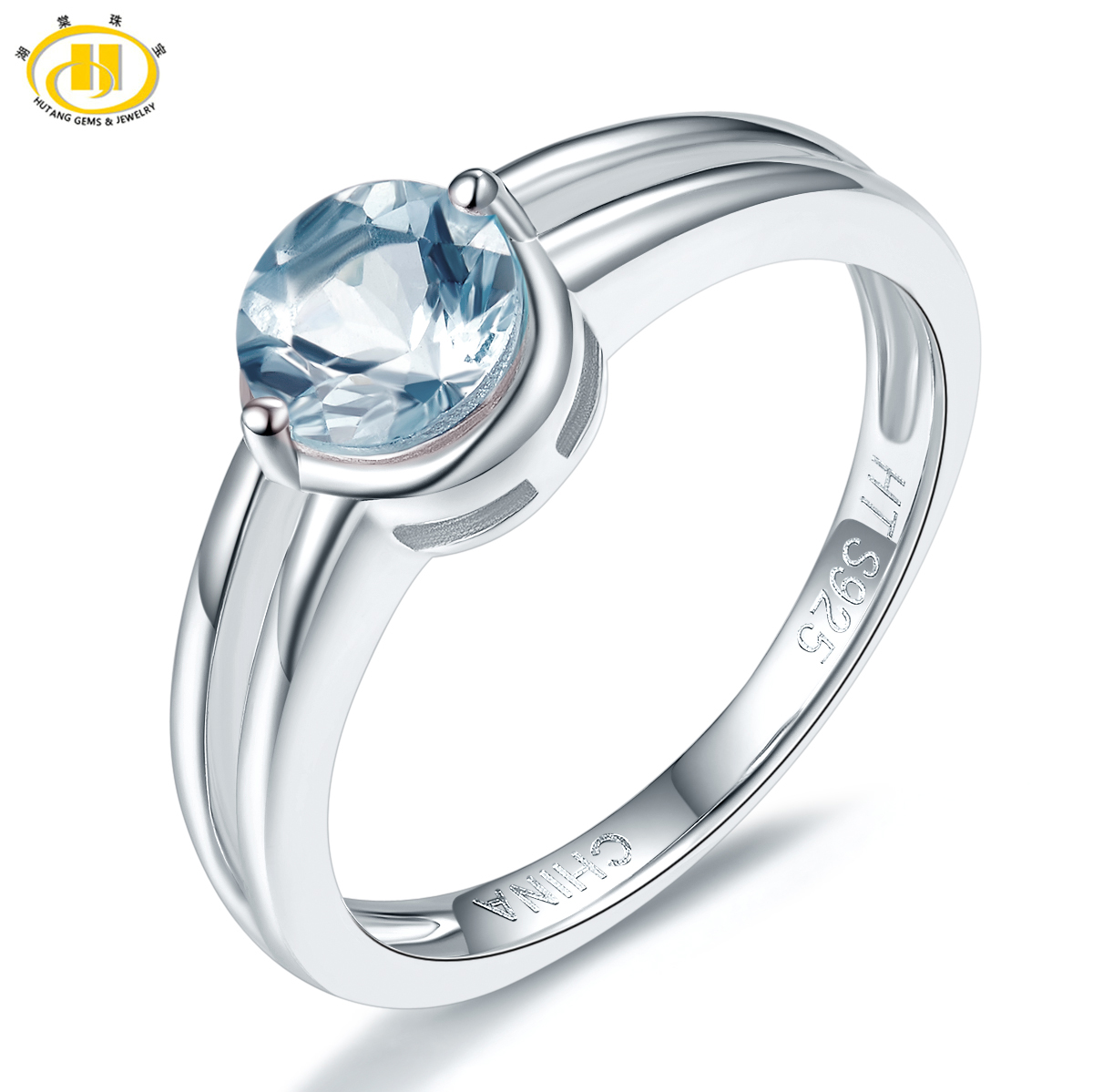 Hutang New Style Natural Aquamarine Promise Ring Solid 925 Sterling Silver Gemstone Ring Fine Jewelry Wedding Womens Rings Gift