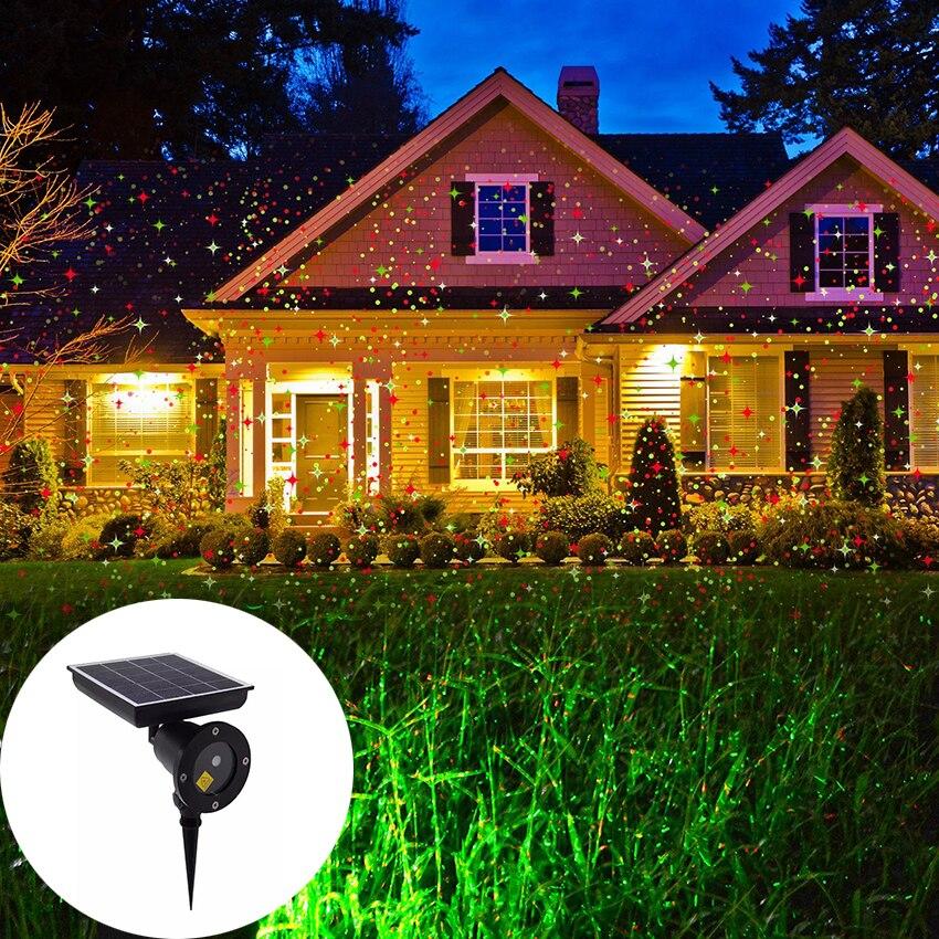 Extérieur solaire alimenté noël projecteur Laser lumière ciel étoile scène douches IP65 paysage jardin pelouse lumière projecteur lampe