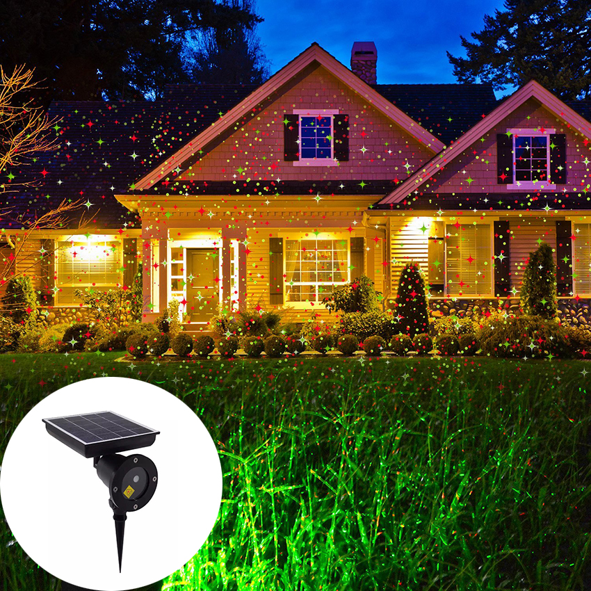 Outdoor Solar Powered Christmas Laser Projector Light Sky Star Stage Showers IP65 Landscape Garden Lawn Light Projector Lamp