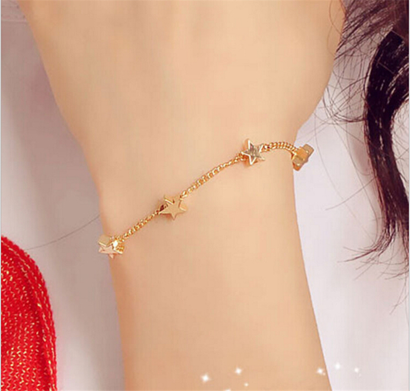 Bracelet Gold Plated Trendy Jewelry Heart Star Thin Chain Bracelets Little Gift For Women Gsz0018 In Link From
