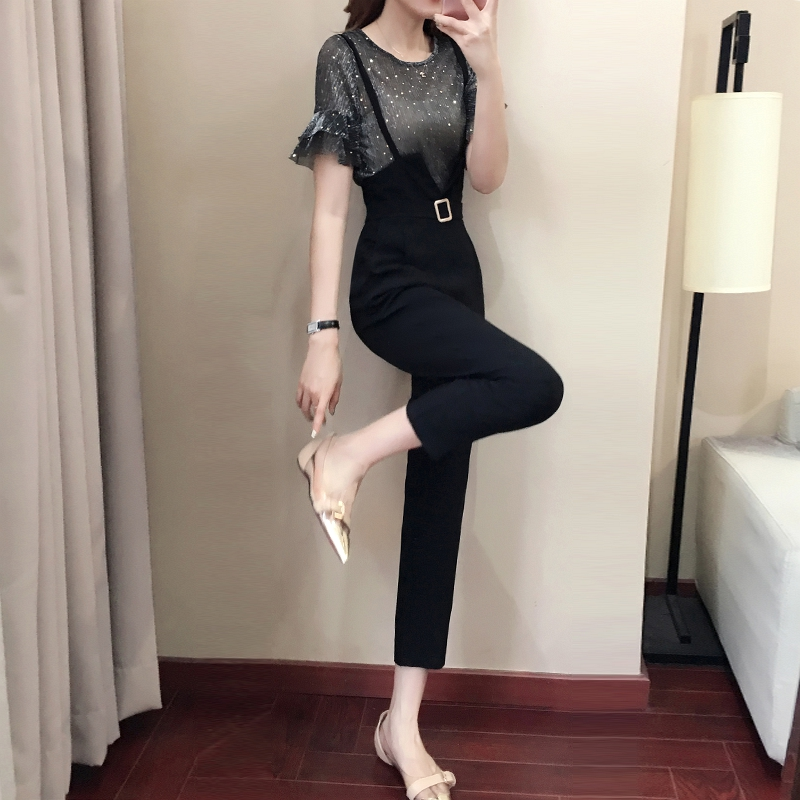 Casual women 2 pieces pant sets 2018 summer new fashion ruffles sleeved and black pencil pants lady clothing sets 1