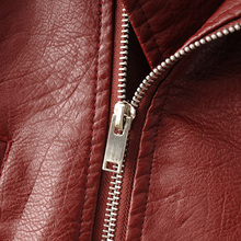 e027d2798 2016 New Fashion Women Wine Red Faux Leather Jackets Lady Bomber ...