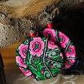 Завышение оригинальный DIY китайский стиль цветочные вышивка ручной работы преувеличены круглые круги серьги красный коралл бусины этнические украшения
