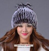Female Fall Plus Size 100% Rabbit Fur Skullies & Beanies Hats Woman Winter Stretch Warm Ear Protection Caps Lady Bombers Fur Cap