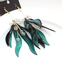 ZA pendientes largos 2016 ZHONGLV verde granos de La Manera joyería de los pendientes de gota de la Aleación de acrílico de la flor grande de la borla pendientes para las mujeres