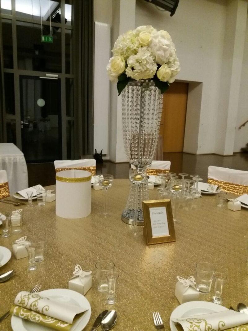 Stříbrný a zlatý křišťál Svatební ozdoba / svatební dekorace Vysoký 32 palců Průměr 8 palců Jehněčí ledvina Road Lead