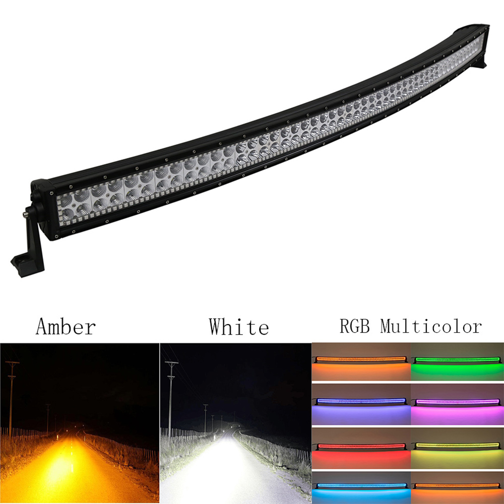 Nicoko 50288W Led light bar Curved White Amber lights for Car Tractor Boat OffRoad Off Road 4WD 4x4 Truck Trailer SUV 12v 24v