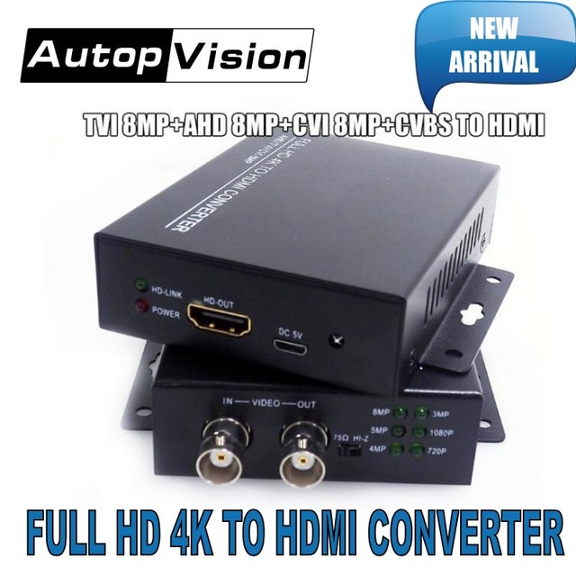 2019 New arrival 4K 720/1080P HDC ADH 4 in 1 Resolution supports CVI 8MP /TVI 8MP /AHD 8MP+CVBS to HDMI Converter security test