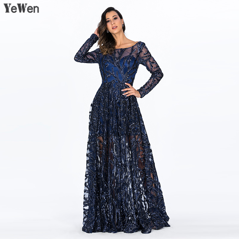 Royal Blue O-Collo Del Merletto Dubai Abiti Da Sera Maniche Lunghe Con Paillettes Sexy Di Lusso Del Partito di Promenade Gown Pavimento-Lunghezza 2018 robe de soiree