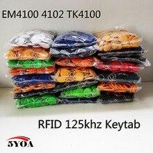 1000Pcs EM4100 125khz ID Keyfob RFID Tag Tag di trasporto llaveros llavero Porta Adesivo Della Carta di Chave Portachiavi Token Ring di prossimità Chip