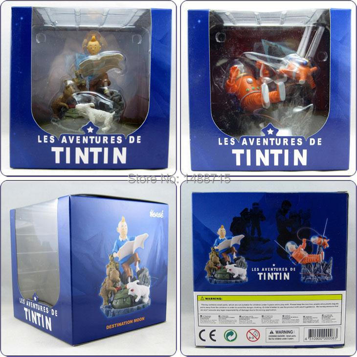 Herge Animation The Adventures Of Tintin Destination Moon Objectif Lune Milou Snowy Space Suit Map Figure Toys 2 Edition