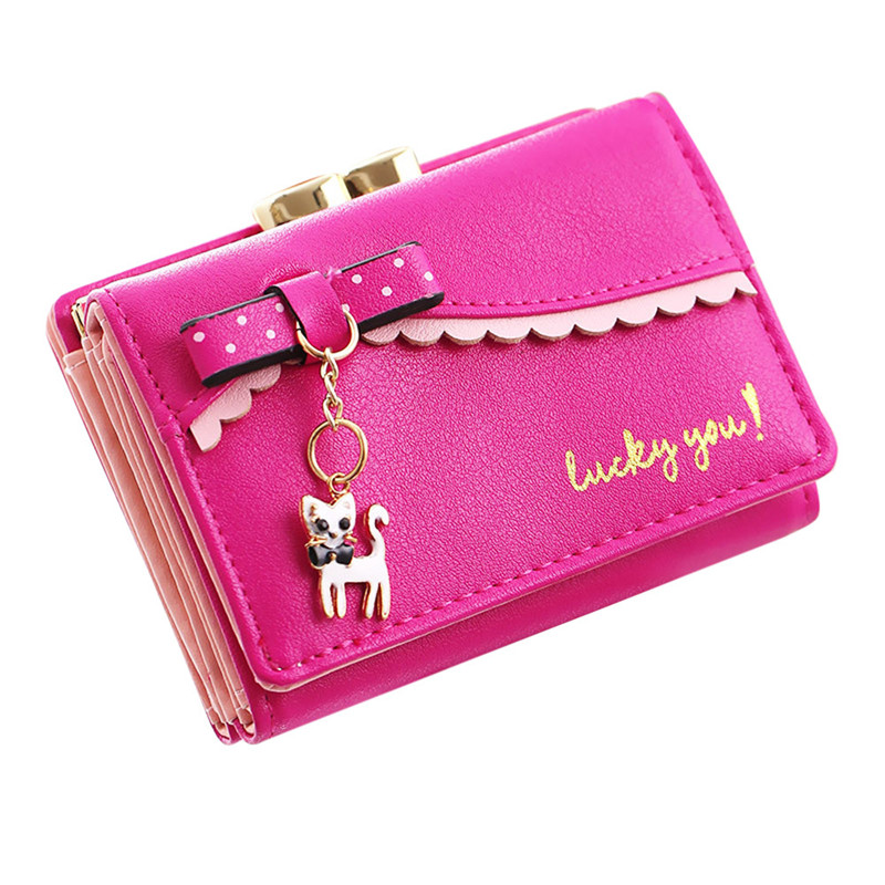 2018 Women casual mini wallet Lady cute little cats hanging chain wallet man-made leather female Card package photo bit coin bag