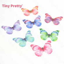 40PCS Sheer Silk Butterflies 38mm Organza Butterfly Appliques for Baby Hair Accessory, DIY Jewelry Making, Party Supplies