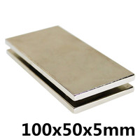 1pc 100 x 50 x 5mm Square Block Long Bar Super Strong Magnet Rare Earth Neodymium Permanent Magnets N35Powerful