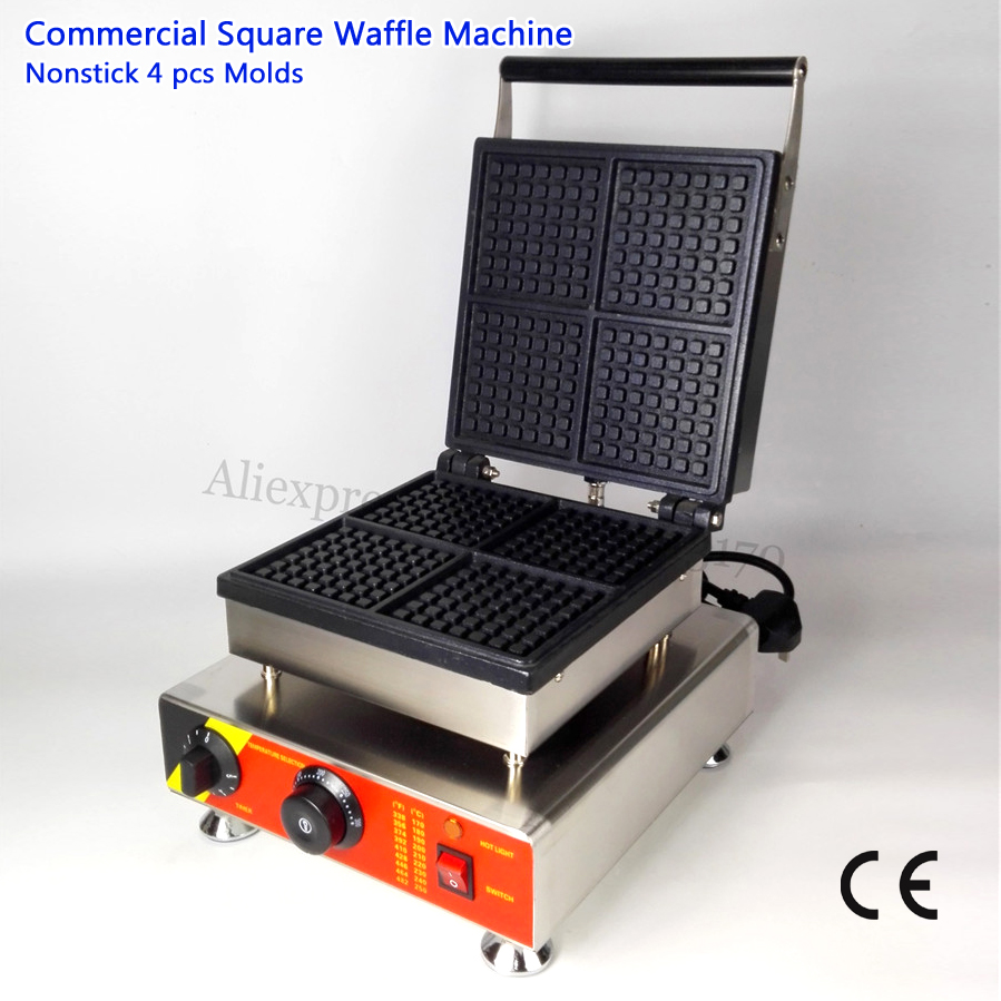Commercial Belgium Waffle Maker Square Pan 4 Molds Stainless Steel Waffle Grilling Machine 220V 110V