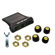 Car TPMS Solar Wireless Tire Pressure Indicator 4 External Sensor Energy Display LCD Screen Car Alarm System Car Electronics