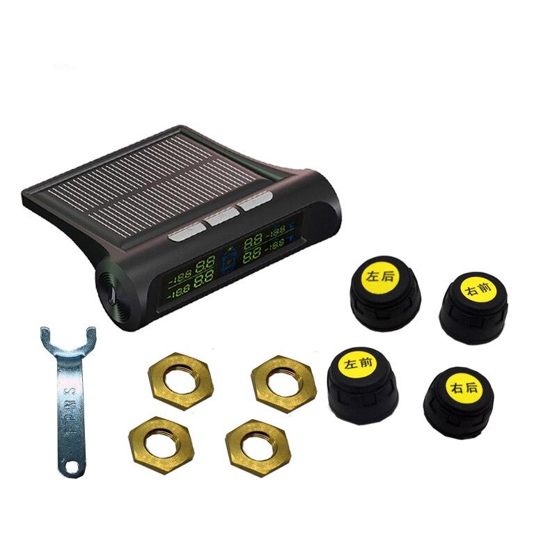 Voiture TPMS solaire sans fil indicateur de pression des pneus 4 capteur externe affichage de l'énergie écran LCD système d'alarme de voiture électronique de voiture