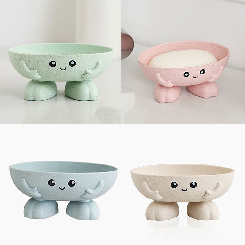 Eco-friendly 1Pcs Soap Box Non-slip Soap Dish Bathroom Supplies Soap Holder Cartoon Shape 2