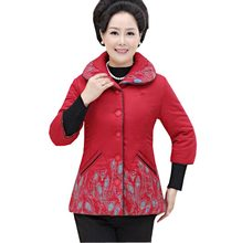 mid-aged elderly women's cotton coat 2016 autumn winter short three quarter <font><b>mother</b></font> clothing turn down collar print jacket kp0987