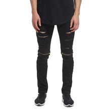 Men hip hop Hole jean 2019 New mens zipper design Skinny Jeans Motorcycle autumn men pants Kanye West Jogger Elasticity trousers