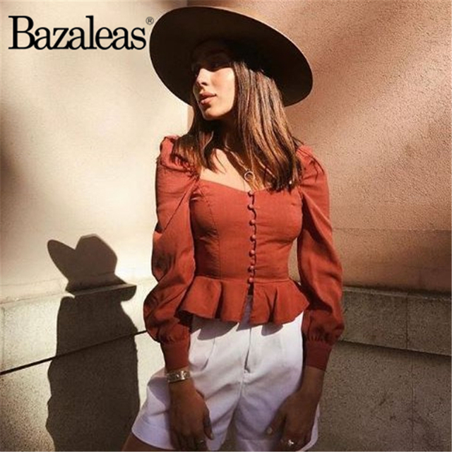 acf7ac344 Venda Barata Bazaleas Ruffles mulheres tops e blusa Da Moda Sem ...
