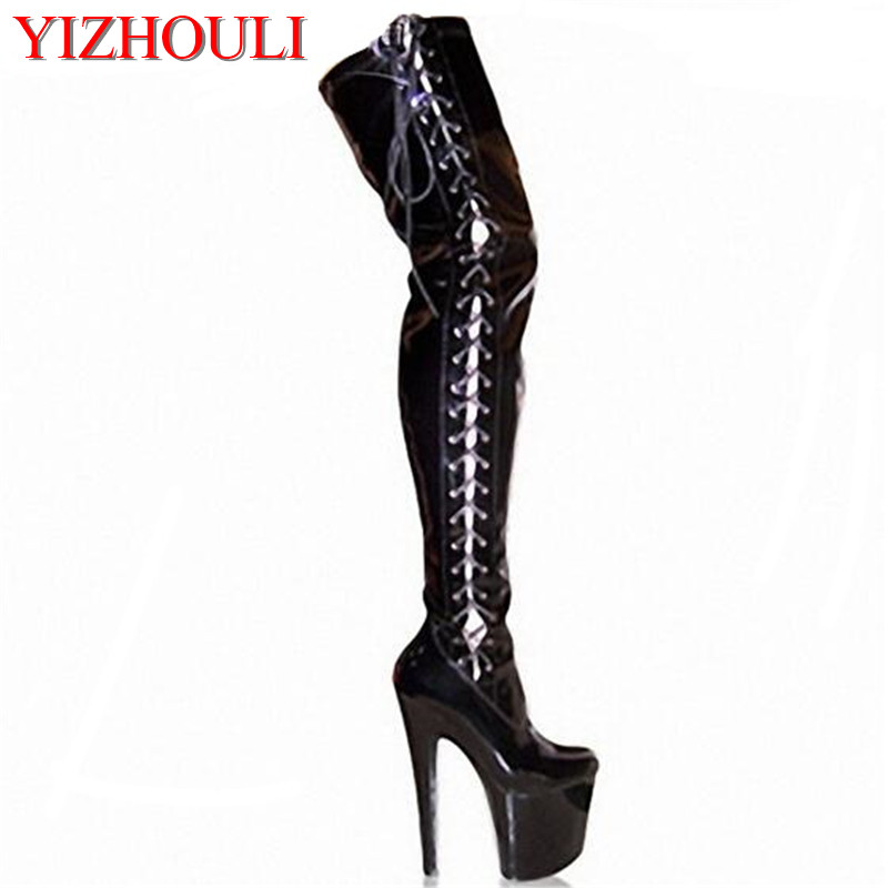 20cm High-Heeled Shoes Strap Tall Platform Clubbing Exotic Dancer Boots Hasp 8 Inch Sexy Womens Gladiator Thigh High Dance Shoes 20cm neon green heels sexy women sexy clubbing dance shoes platforms shoes 8 inch high heel shoes star exotic shoes