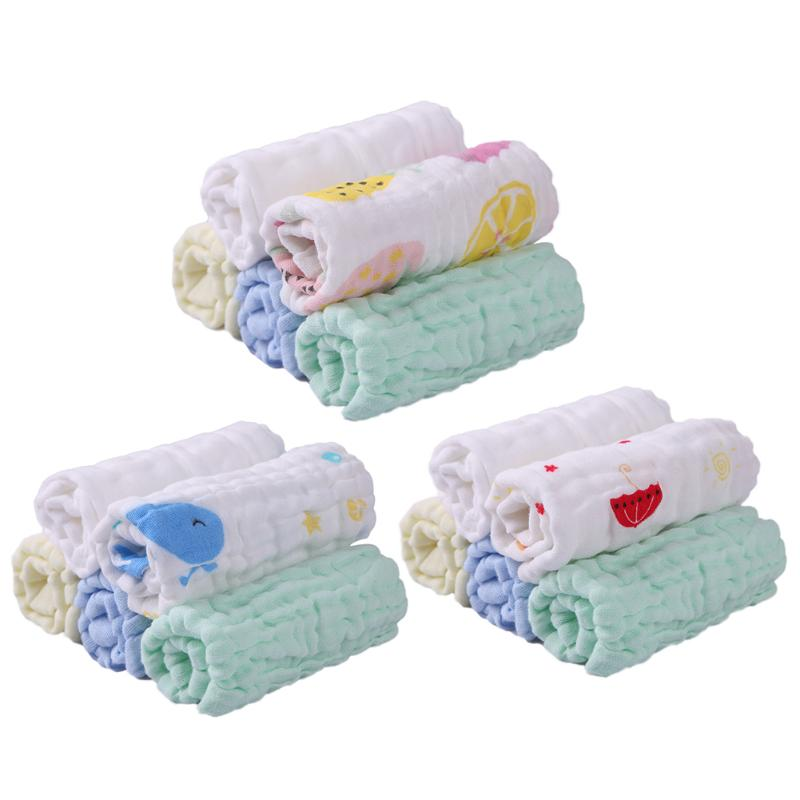 5pcs 6 Layers 30*30cm Feeding Square Towels Cotton Gauze Handkerchief Newborn Baby Infant Cartoon Face Hand Bathing Towel Bibs