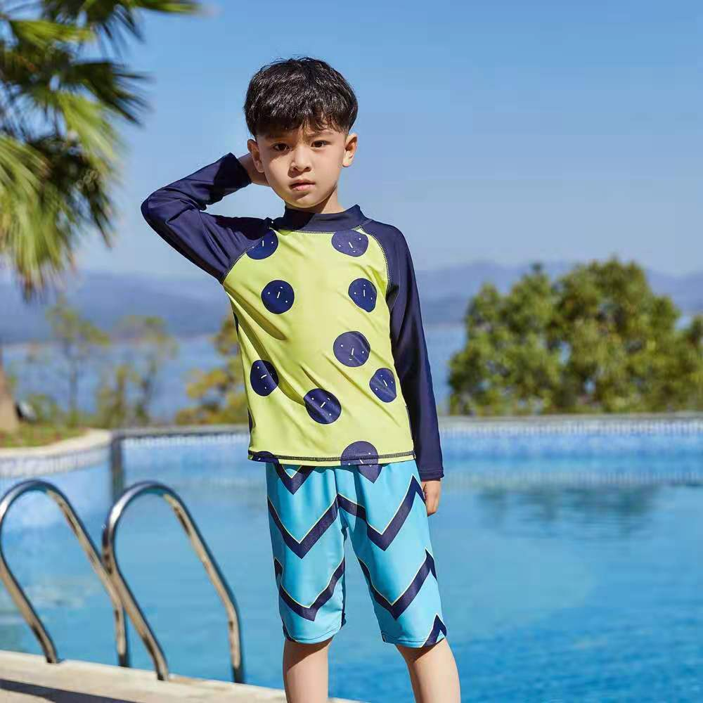 2-12Years Children Swimsuits Boys Sleeved Beach Sunscreen Clothing Kids Two Piece Toddler Boys Swimwear Suits