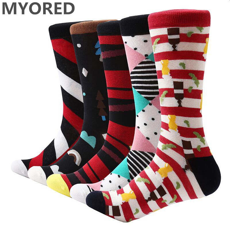 MYORED 5 pair/lot mens dress socks colorful funny socks soft breathable men cotton socks for men gifts socks