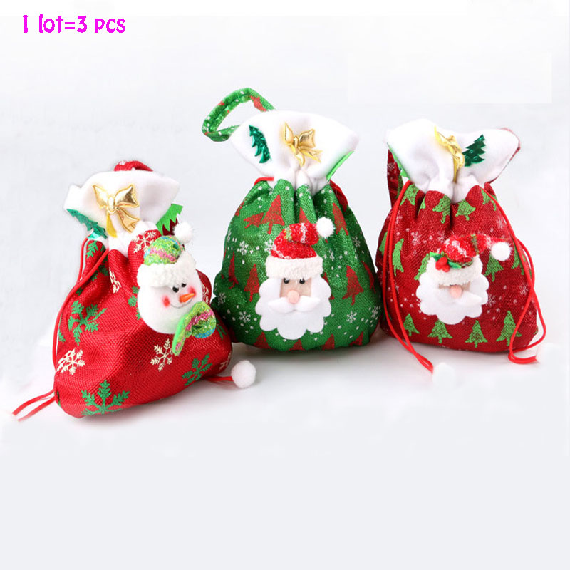 ④3 unids estilos Navidad bolsa de regalo para el caramelo Navidad ...