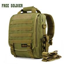 Free soldier morral táctico al aire libre mujeres de los hombres que acampan yendo de viaje mochila 14 pulgadas estilo militar caja del ordenador portátil bolsa de 2 colores