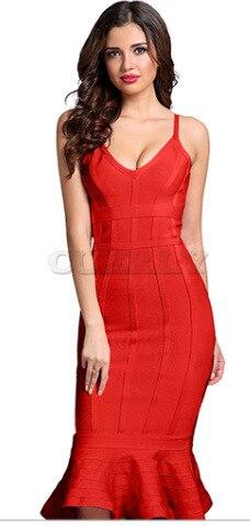 44e56fd306a Cuerly mujeres verano vendaje vestido 2019 Rosa Spaghetti Strap sirena  Vestidos cuello pico Midi Clubwears Celebrity de fiesta noche