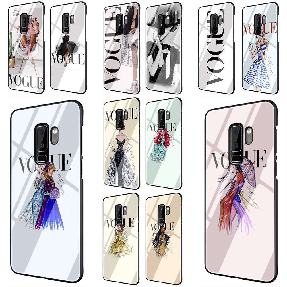Vogue Girl Tempered Glass Phone Case for Samsung Galaxy S7 edge S8 9 10 Note 8 9 10 plus A10 20 <font><b>30</b></font> <font><b>40</b></font> <font><b>50</b></font> <font><b>60</b></font> <font><b>70</b></font> image