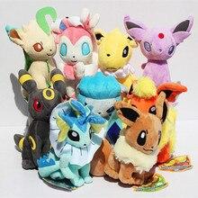9 adet/takım Eevee Aile Peluş Oyuncaklar Doll Yumuşak Dolması Hayvanlar Espeon Jolteon Japonya Anime Eevee Doll Peluş Oyuncaklar Çocuklar Doğum Günü hediye