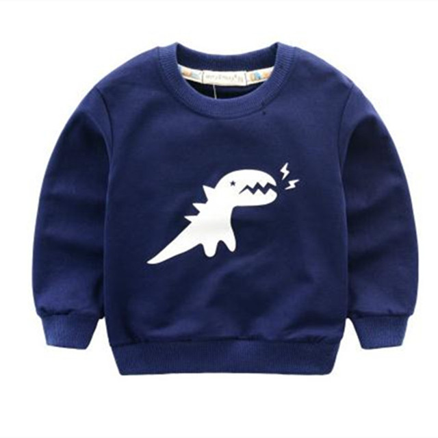 New Arrival 2016 Baby Boy&Girl Clothes Girls Sweatshirt Long Sleeve O-Neck Soild Small Dinosaur Print Sweatshirt Kids Clothing